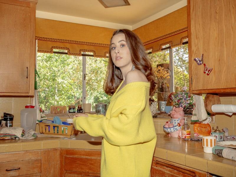 Balenciaga Yellow V-Neck Off-the-Shoulder Sweater