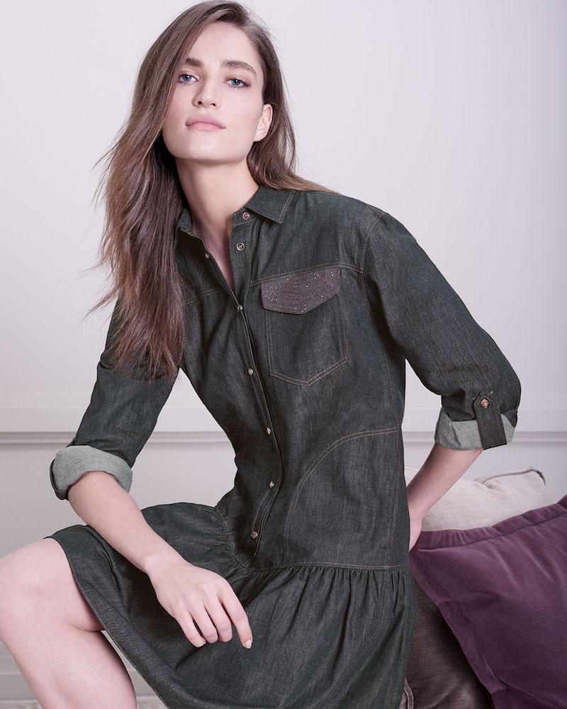 Brunello Cucinelli Drop-Waist Button-Front Denim Dress with Monili Pocket