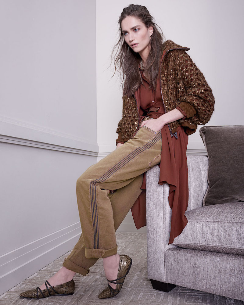 Brunello Cucinelli Long-Sleeve Button-Down Silk Tunic with Wrap Belt & Leather Closure