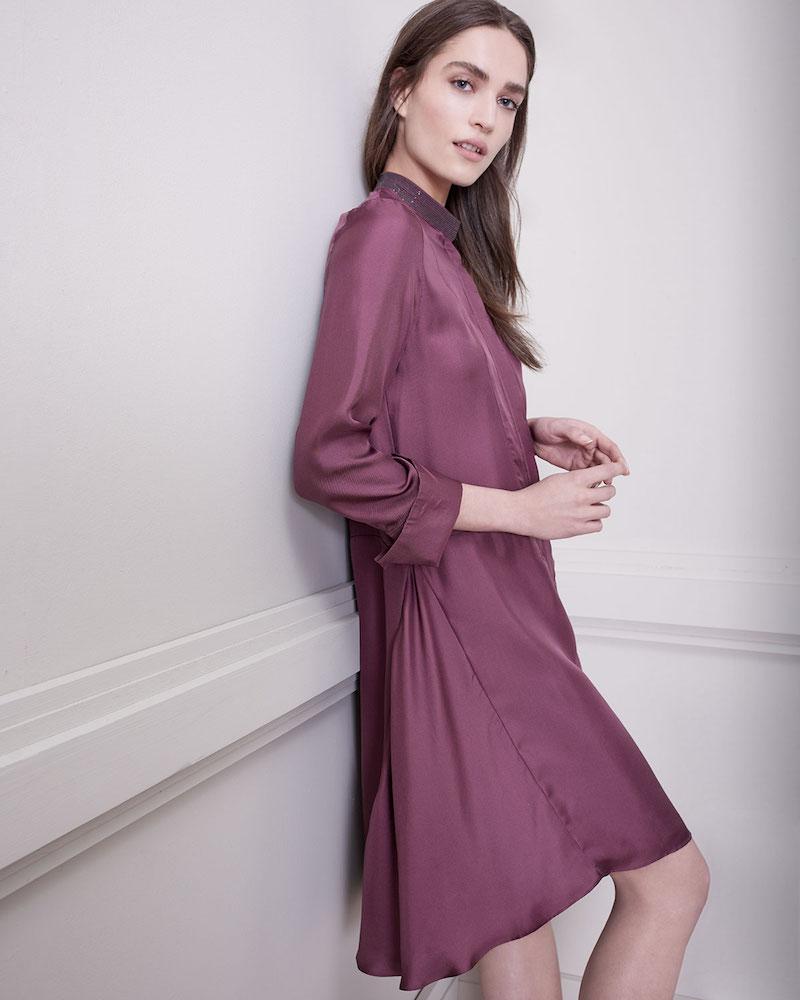 Brunello Cucinelli Long-Sleeve Silk A-Line Dress with Monili Mandarin Collar