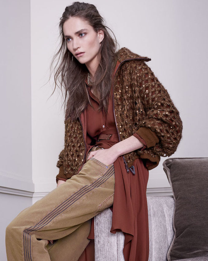 Brunello Cucinelli Mohair Netted Zip-Front Blouson Cardigan with Paillettes