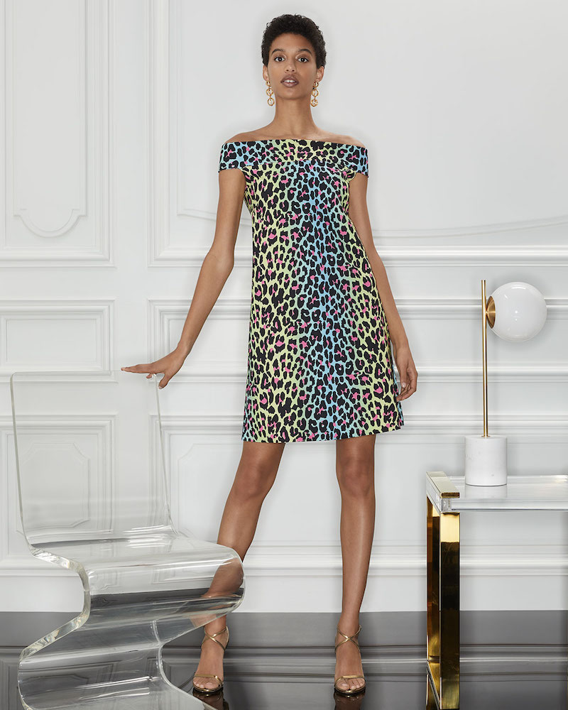 Chiara Boni La Petite Robe Anoush Off-the-Shoulder Animal-Print Dress