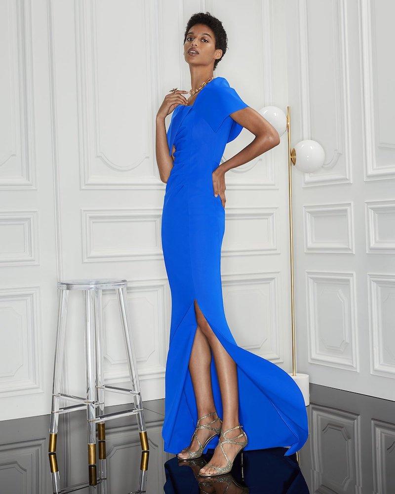 Chiara Boni La Petite Robe Egida Asymmetric Off-the-Shoulder Mermaid Gown