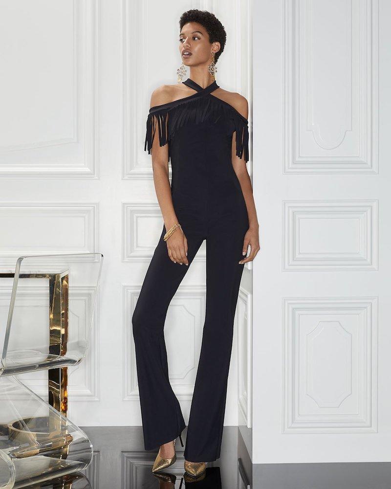 Chiara Boni La Petite Robe Liva Halter Jumpsuit with Fringe