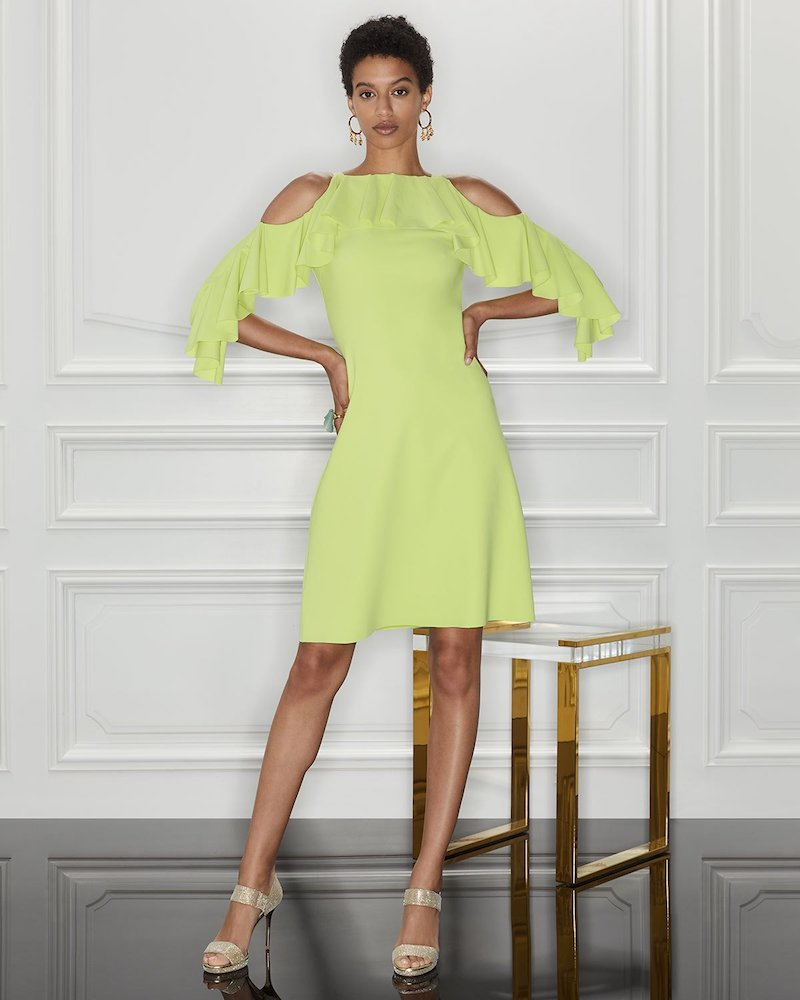Chiara Boni La Petite Robe Marcellina Cold-Shoulder Ruffle Dress