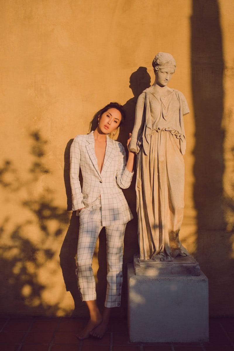 Chriselle x J.O.A. High Waist Ankle Skinny Trousers