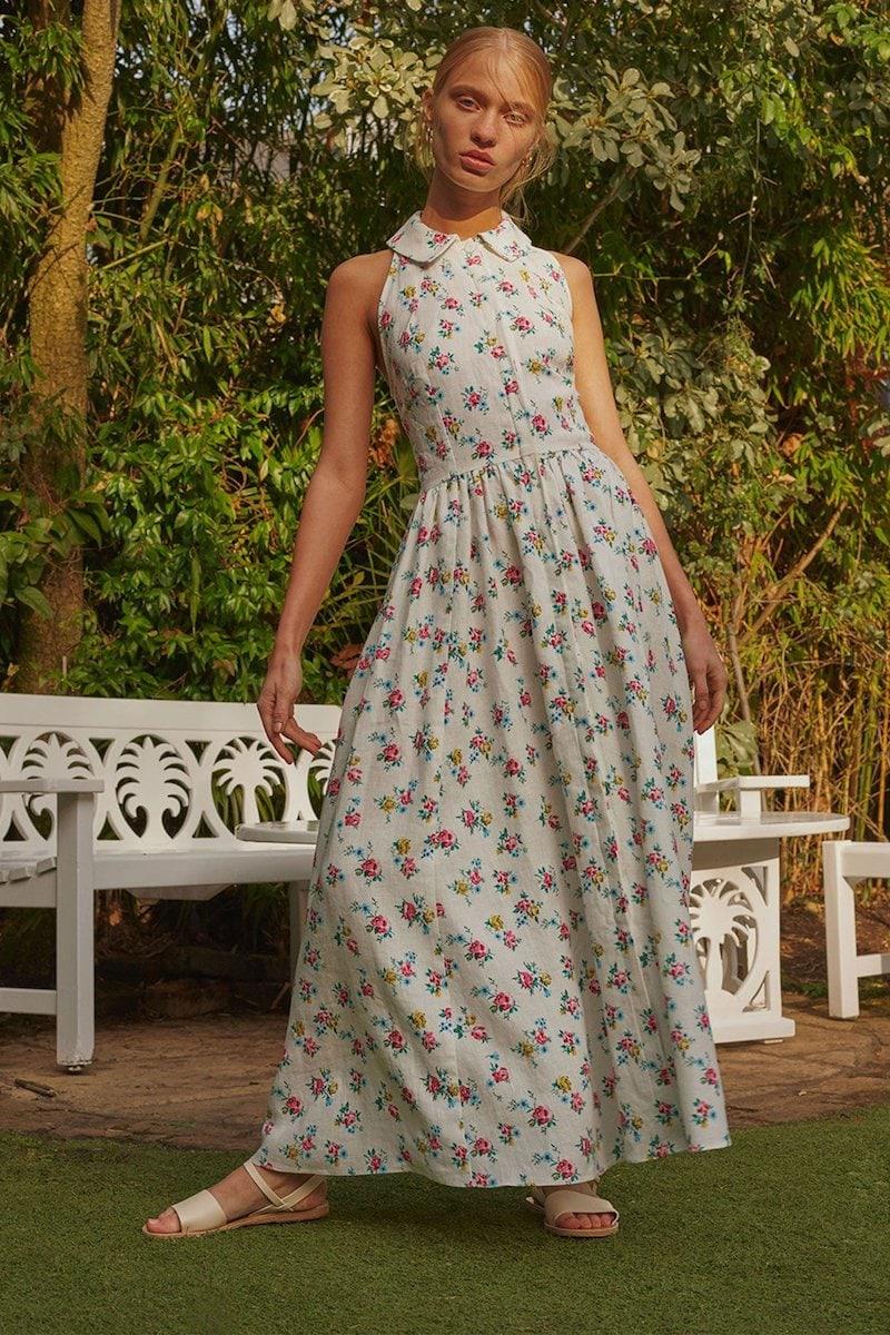 Emilia Wickstead Norika Floral-Print Linen Shirtdress