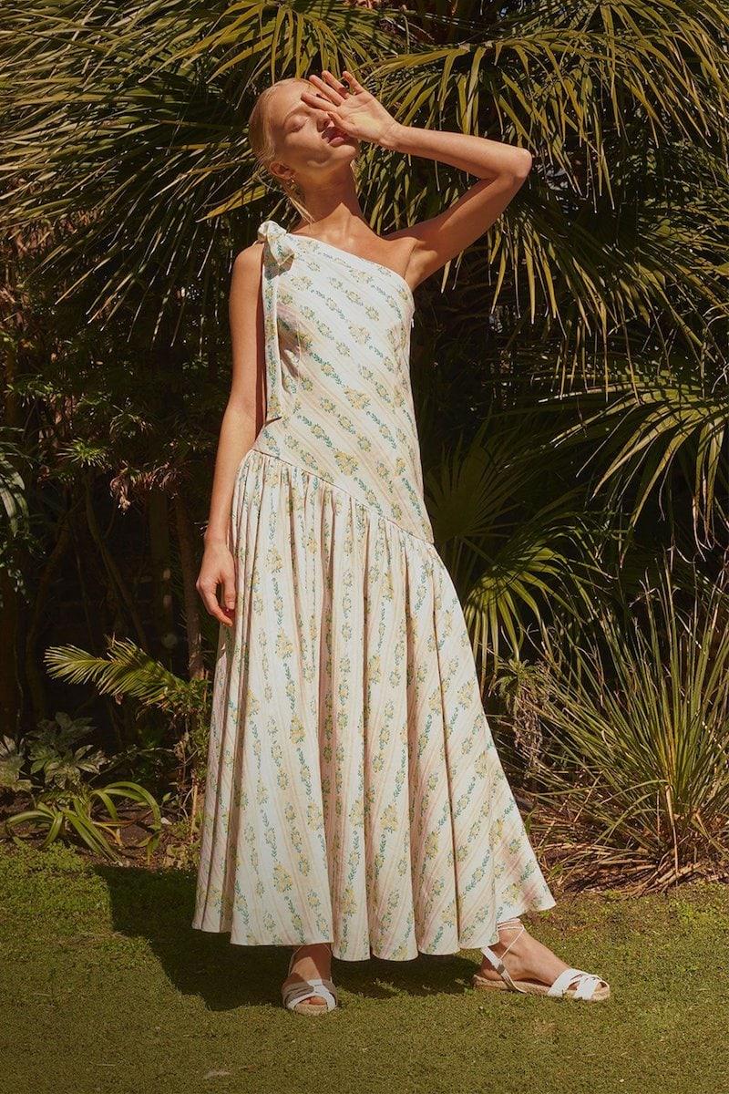 Emilia Wickstead Simone One-Shoulder Linen Floral Maxi Dress