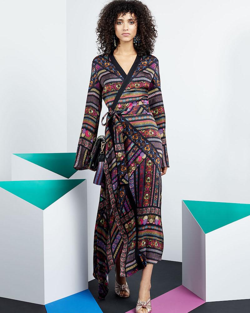 Etro Faux-Wrap Long-Sleeve Ribbon-Print Asymmetric Dress