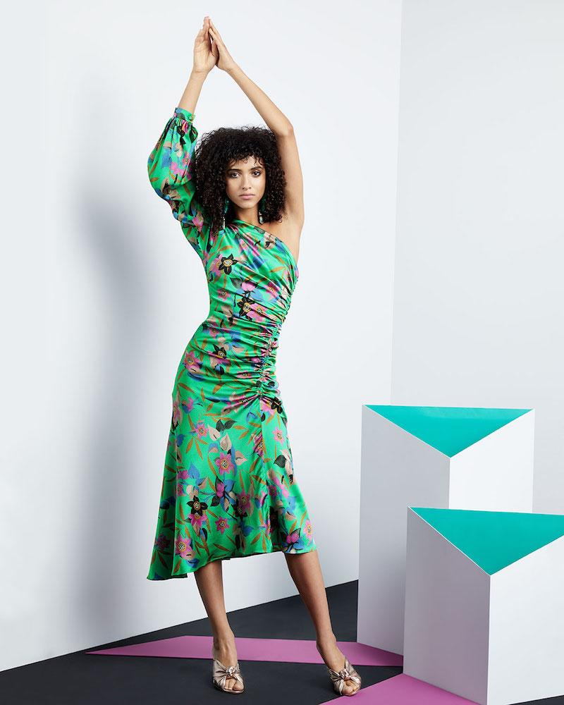 Etro One-Sleeve Shirred Floral-Print Hammered Silk Midi Dress