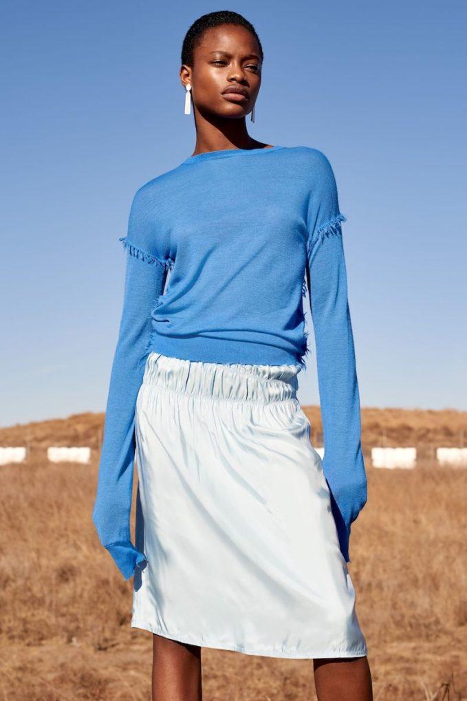 Helmut Lang Ruched Slip Skirt
