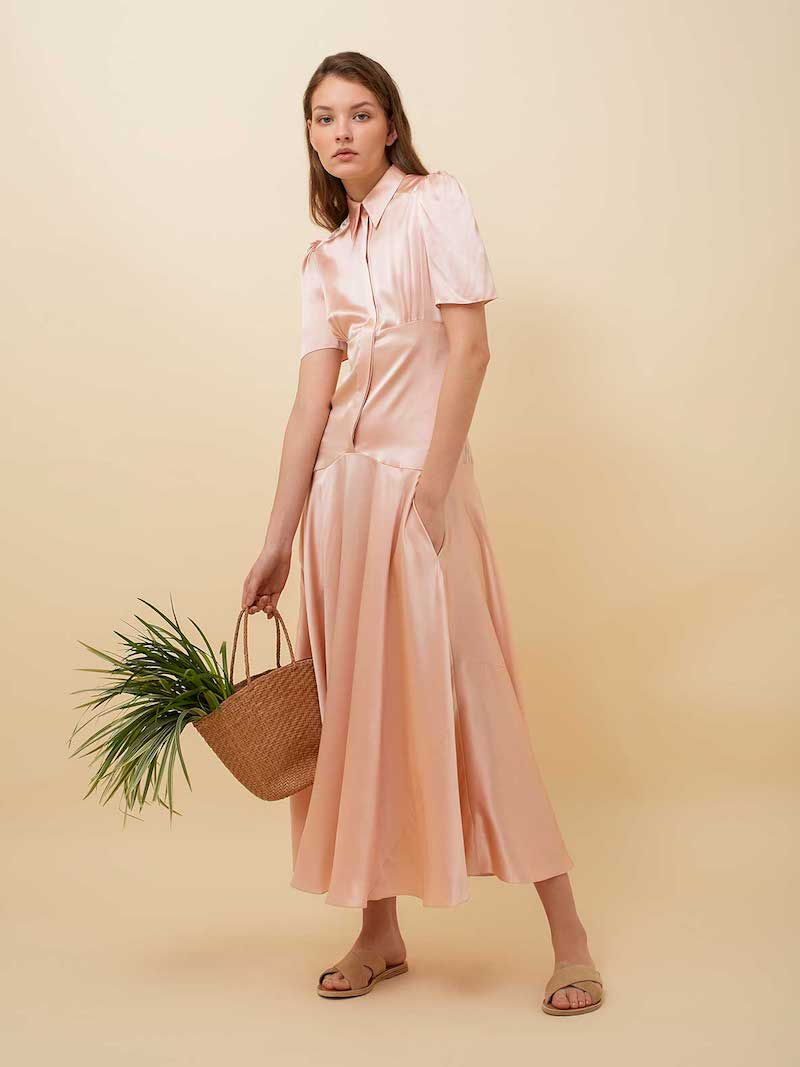 Hillier Bartley Plimpton Short-Sleeve Silk Dress