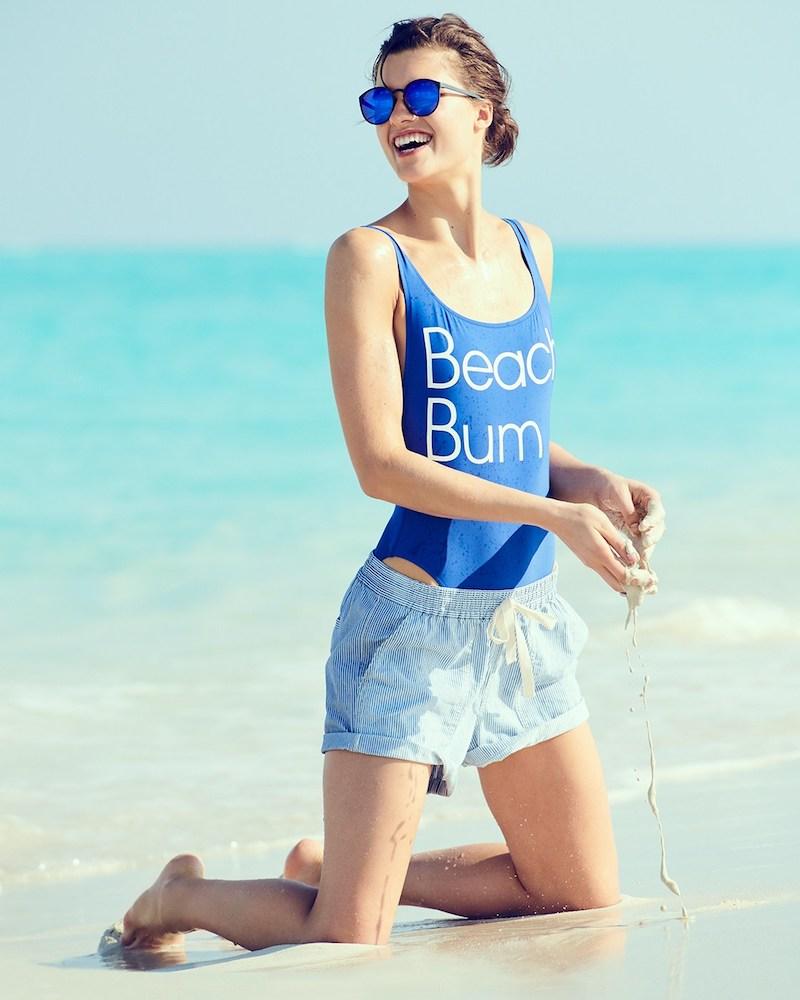 "J.Crew ""Beach Bum"" Plunging Scoopback One-Piece Swimsuit"