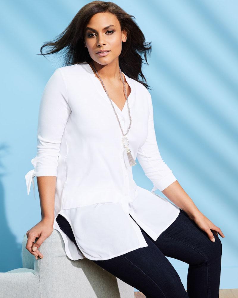 Joan Vass High-Low Crepe de Chine Shirting Tunic