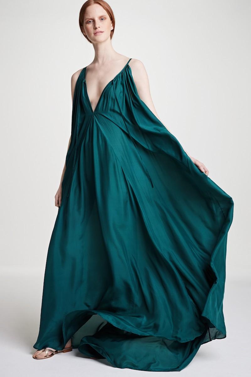 Kalita Mercury Silk Habotai Trapeze Maxi Dress