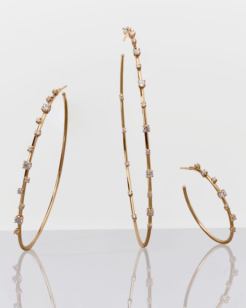 LANA 14k Solo Scattered Diamond Hoop Earrings