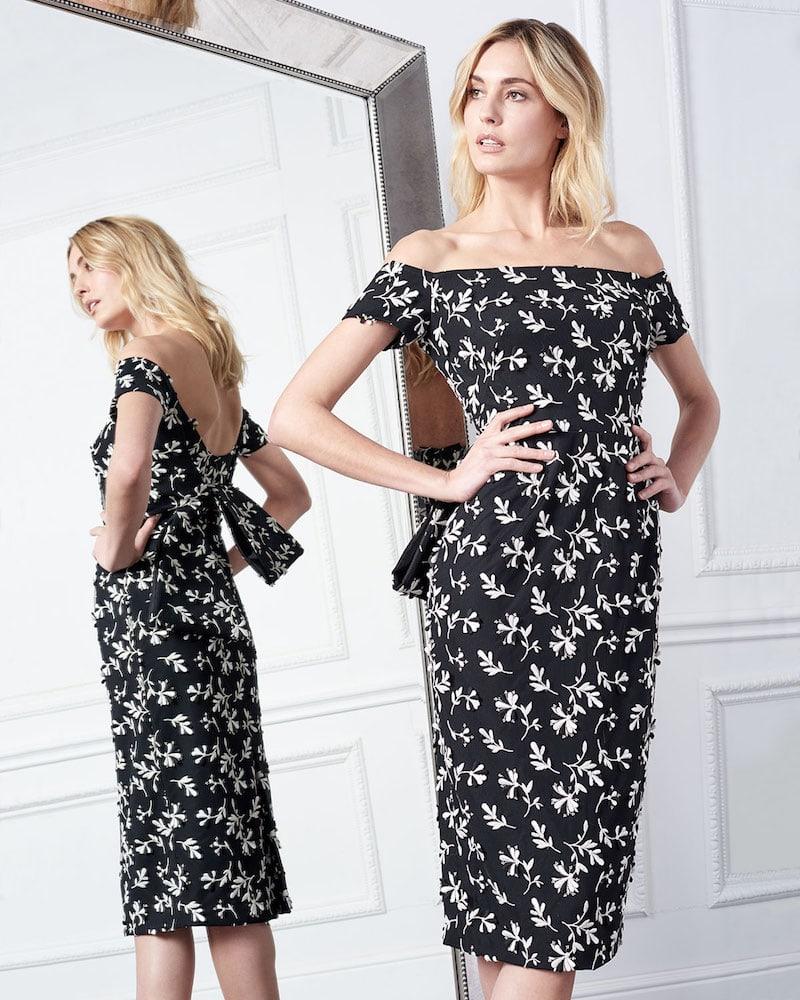Lela Rose Off-the-Shoulder Bow-Back Floral-Embroidered Sheath Dress