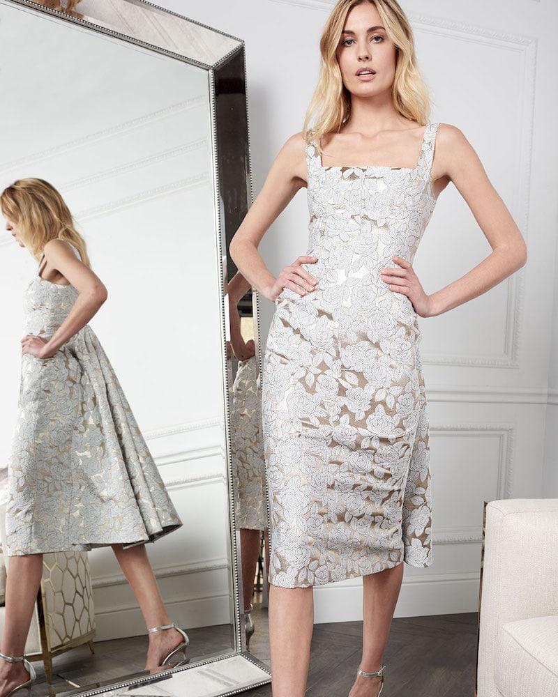 Lela Rose Square-Neck Sleeveless Floral-Jacquard Watteau-Back Midi Dress