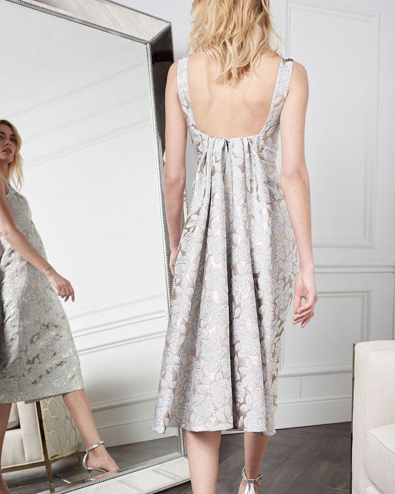 Lela Rose Square-Neck Sleeveless Floral-Jacquard Watteau-Back Midi Dress 1