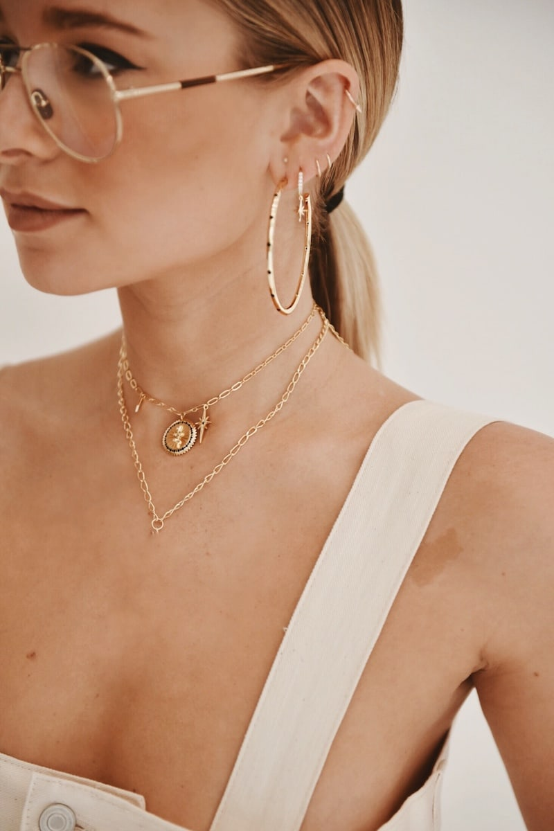 Lulu DK x We Wore What Studded Hoop Earrings