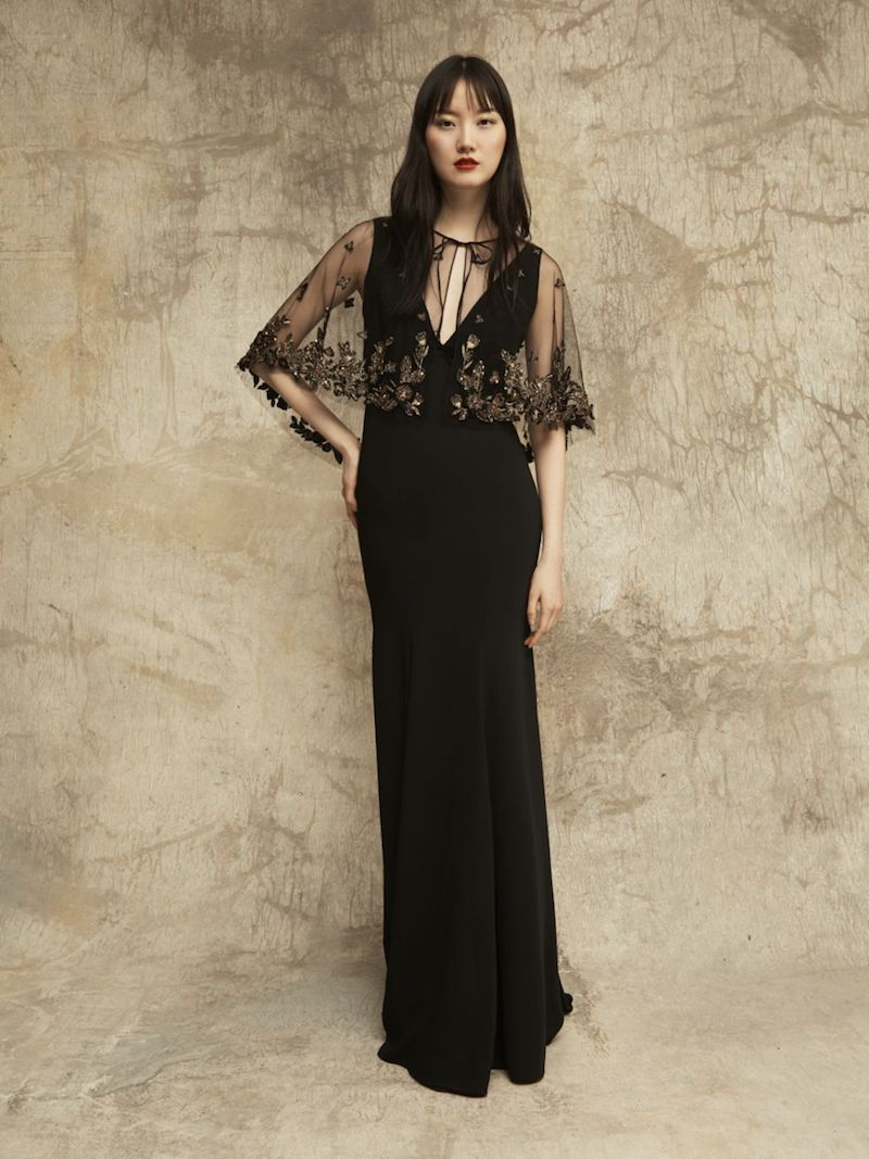 Marchesa Notte Beaded Cape V-Neck Gown