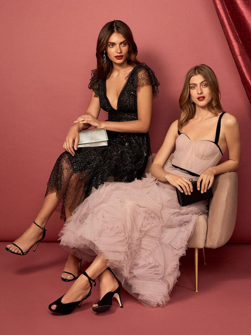 Marchesa Notte Flutter Sleeve Glitter Tulle Cocktail Dress