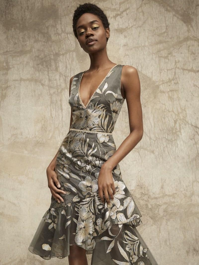 Marchesa Notte Metallic Floral-Print Asymmetrical Flounce Dress