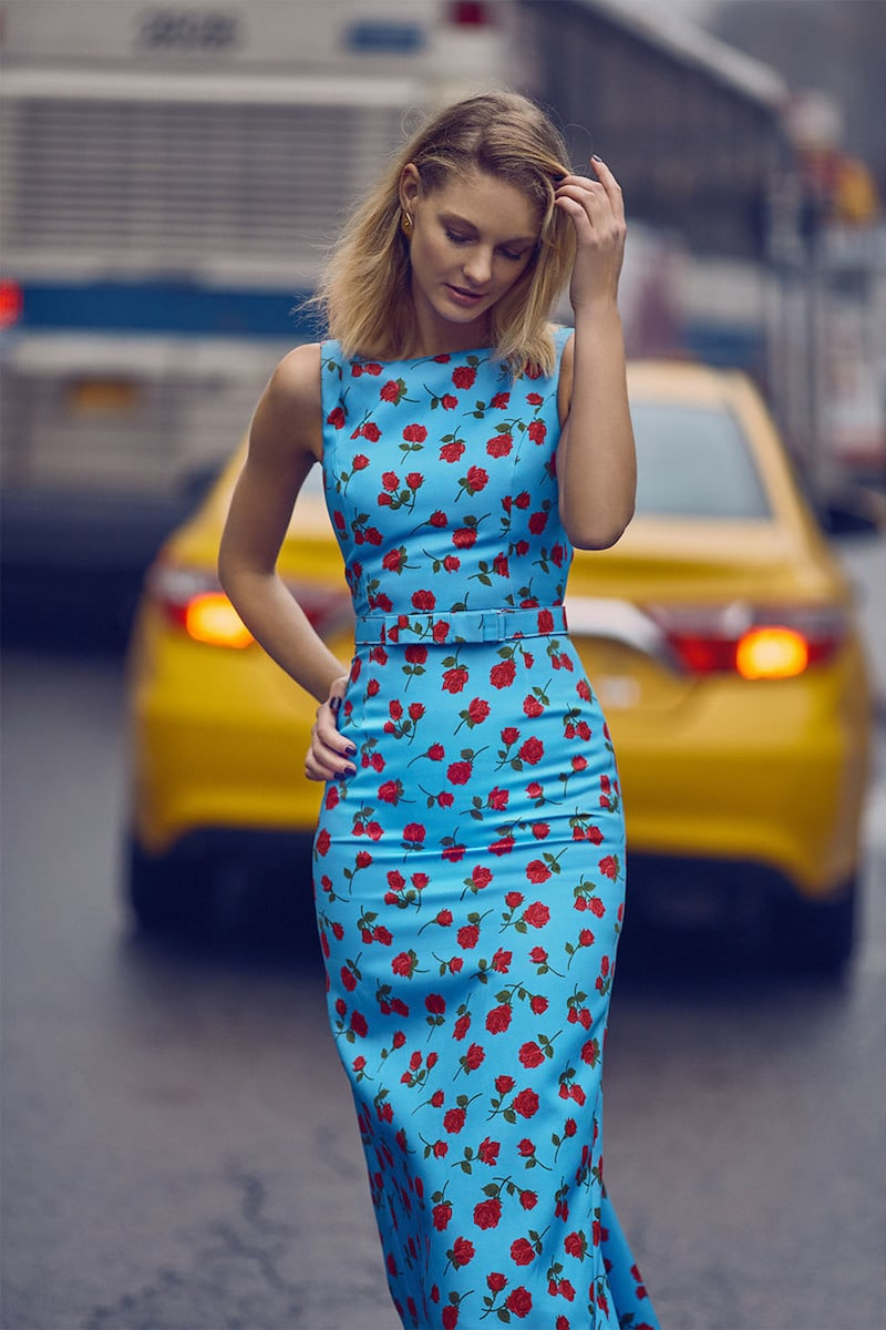 Michael Kors Collection Floral-Print Silk and Cotton-Blend Belted Dress