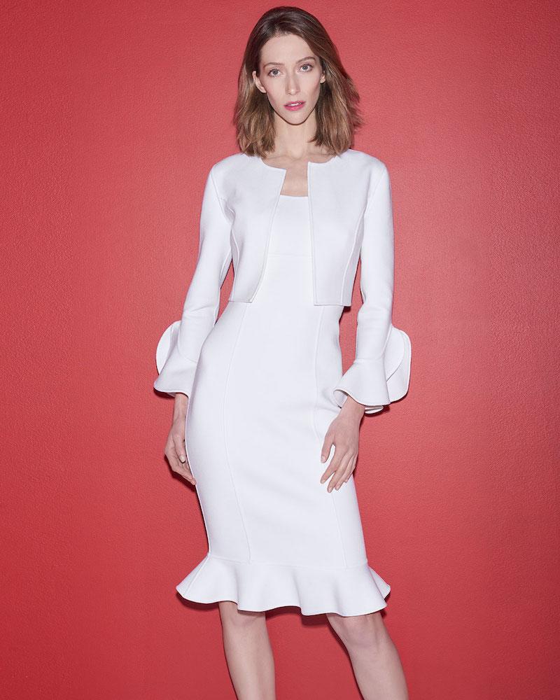 Michael Kors Collection Ruffle-Hem Wool Crepe Sheath Dress