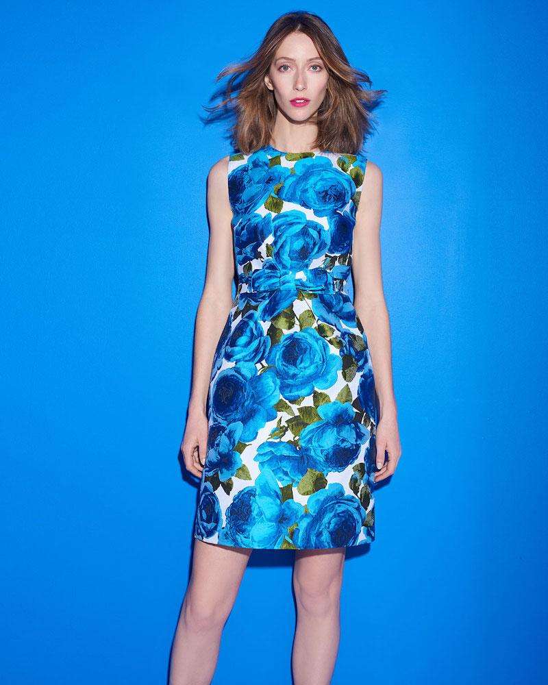 Michael Kors Collection Sleeveless Rose-Jacquard Bow-Belt A-Line Dress
