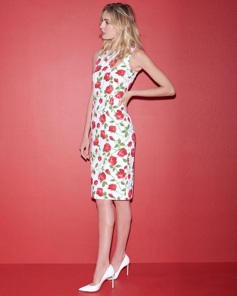 6f33eeb76f Michael Kors Collection Sleeveless Stemmed-Rose Print Stretch-Cady Sheath  Dress