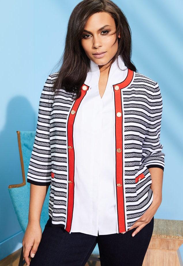 Misook Button-Detail Striped Jacket