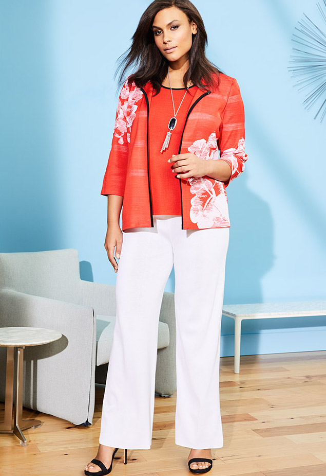 Misook Placed Floral 3 4-Sleeve Jacket