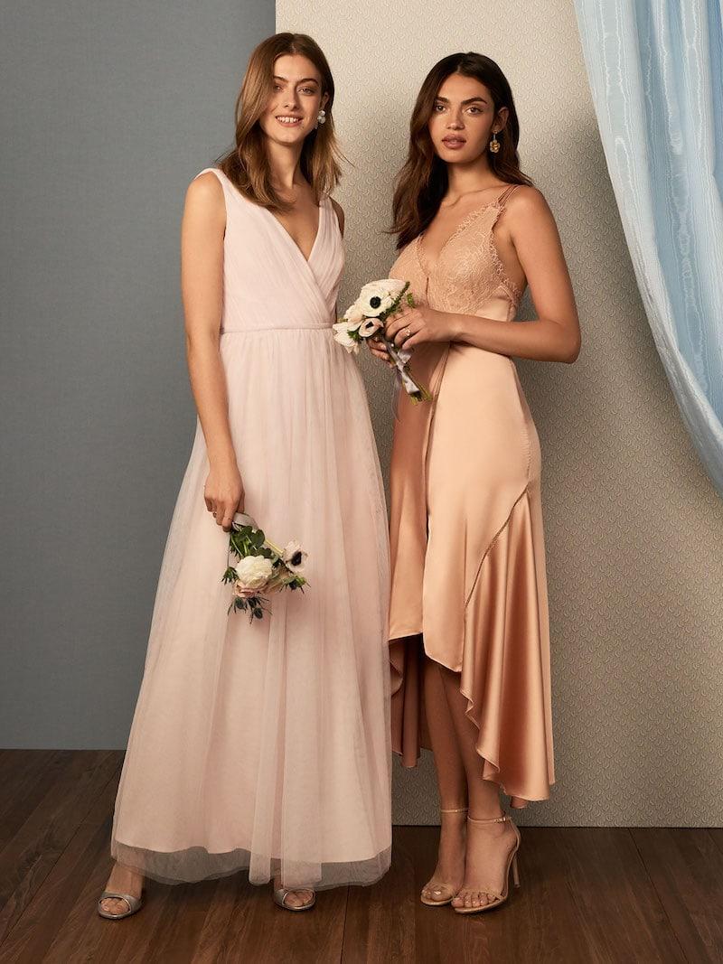 Monique Lhuillier Bridesmaids Shirred Multi Tone V Neck Gown