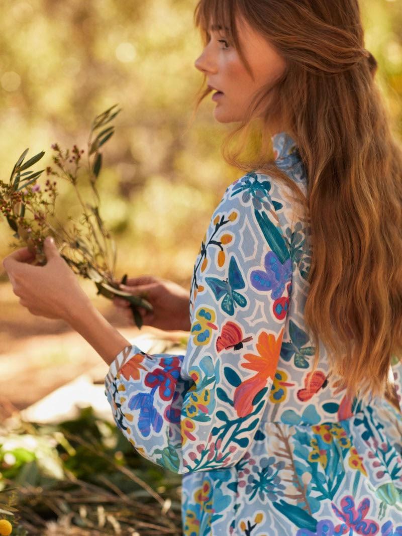 & Other Stories Floral Print Midi Dress