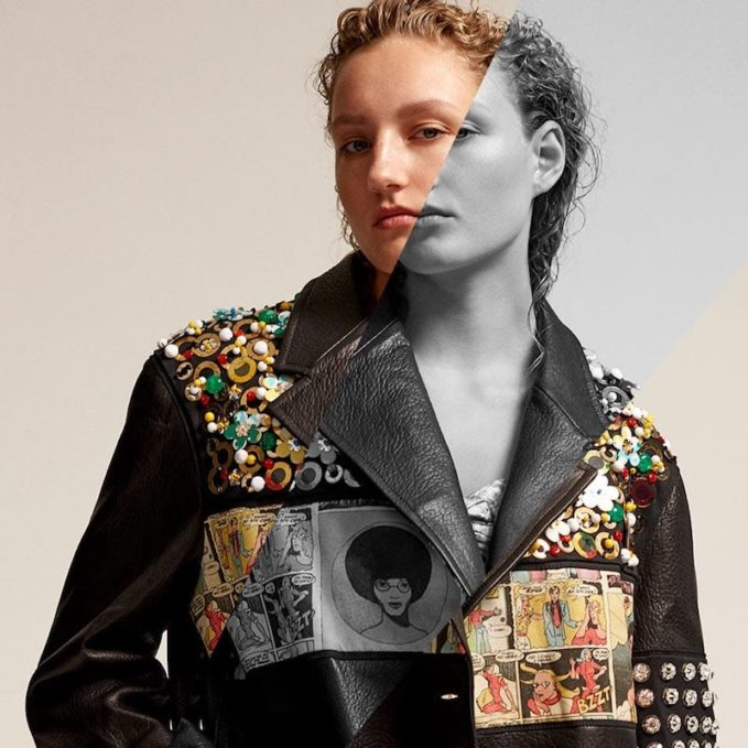 Prada Contrast-Panel Embellished Leather Jacket