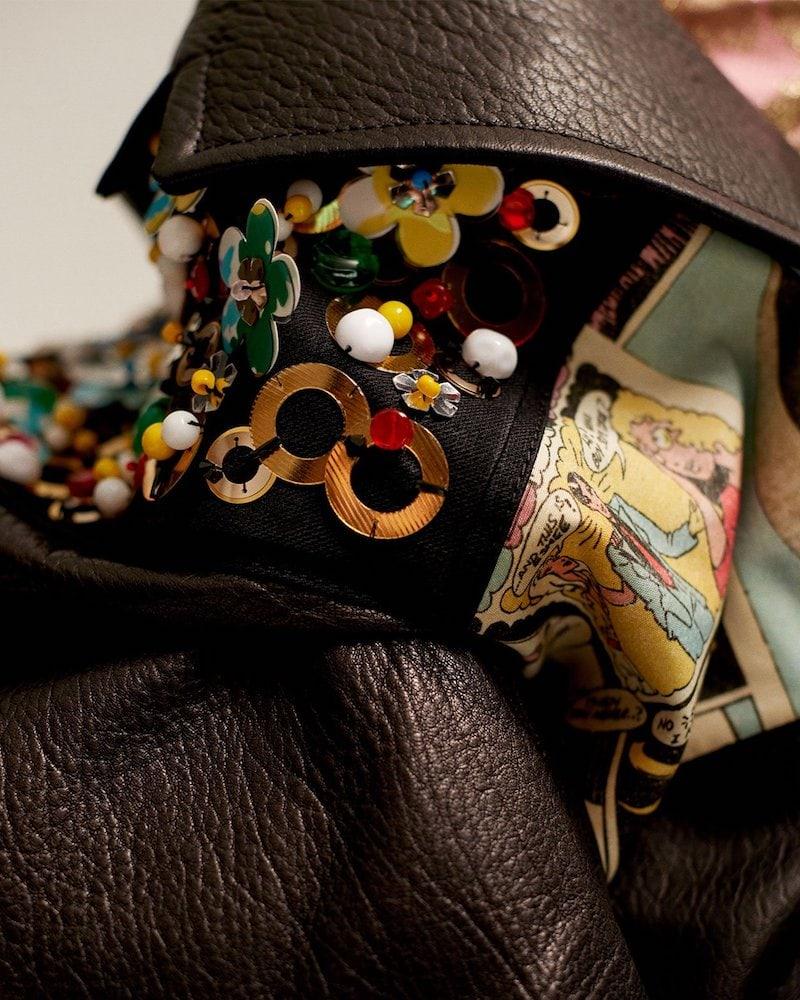 Prada Contrast-Panel Embellished Leather Jacket 1