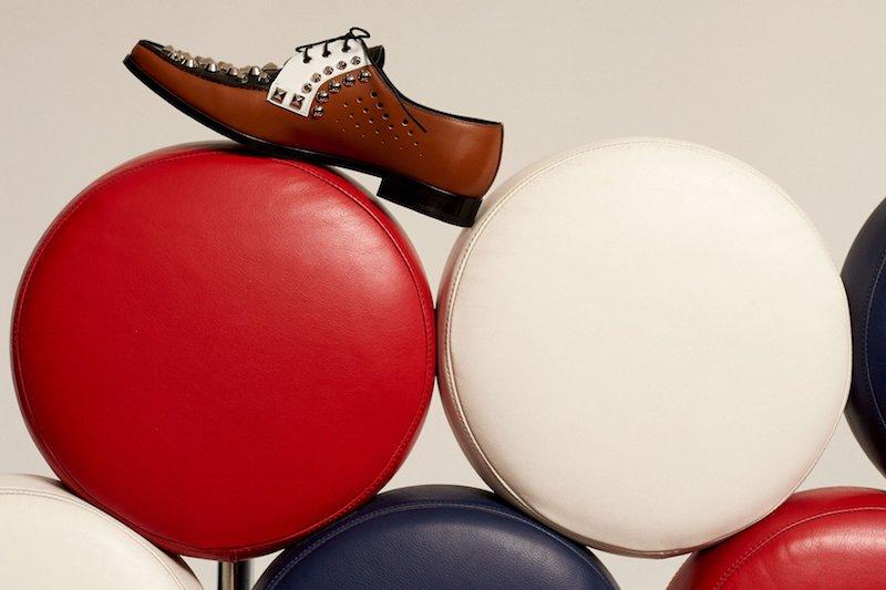 Prada Stud-Embellished Leather Derby Shoes
