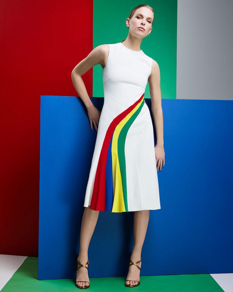 Ralph Lauren Collection Celesse Sleeveless Rainbow Stripe Fit-and-Flare Dress