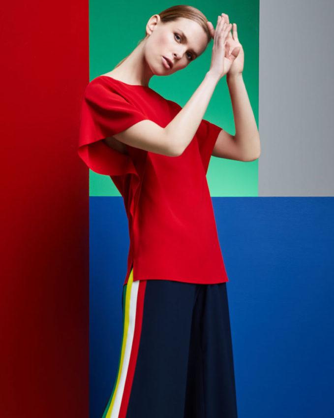 Ralph Lauren Collection Corinna Round-Neck Short-Sleeve Top