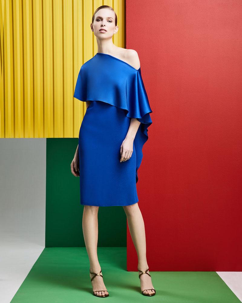 Ralph Lauren Collection Diane One-Shoulder Satin Back Crepe Sheath Dress