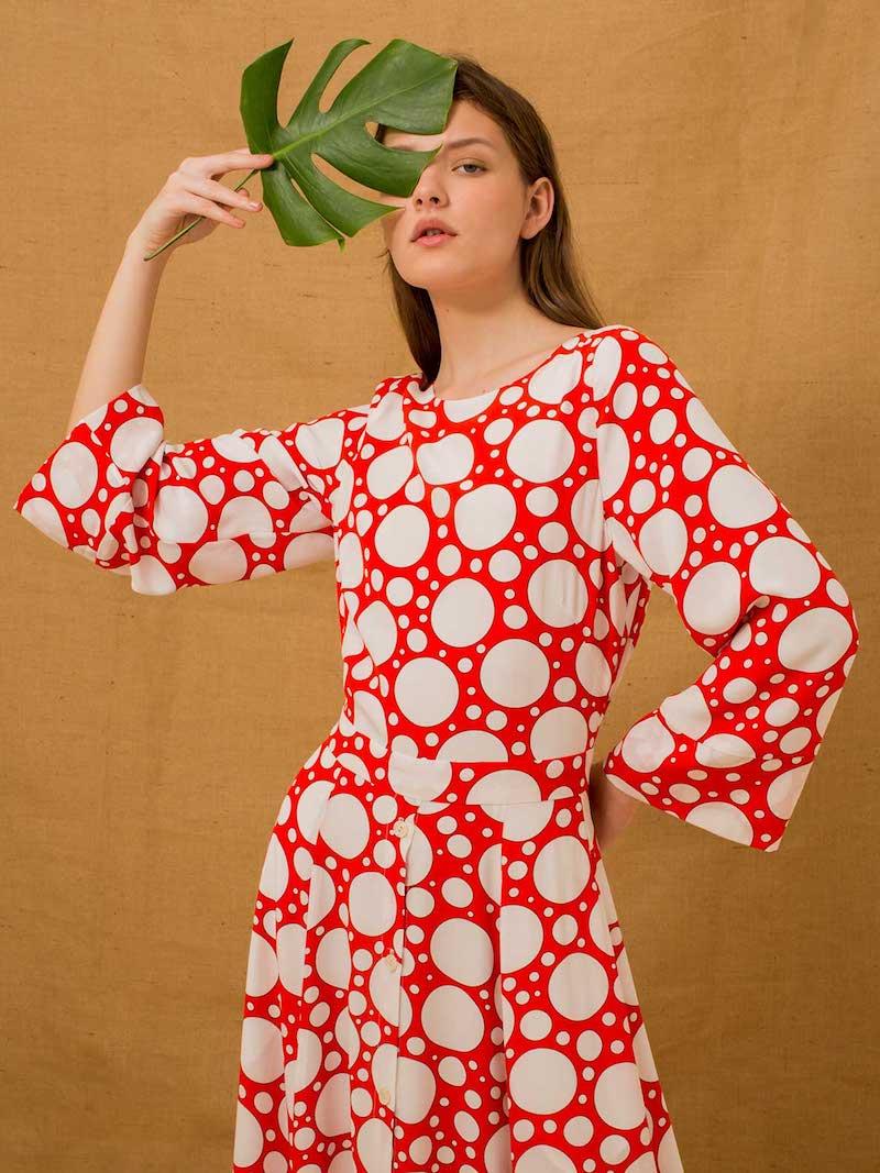 Rebecca de Ravenel Lola Polka-Dot Print Bell-Sleeved Dress