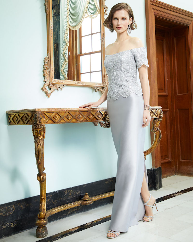 Rickie Freeman for Teri Jon Gazar & Metallic Lace Off-the-Shoulder Column Gown