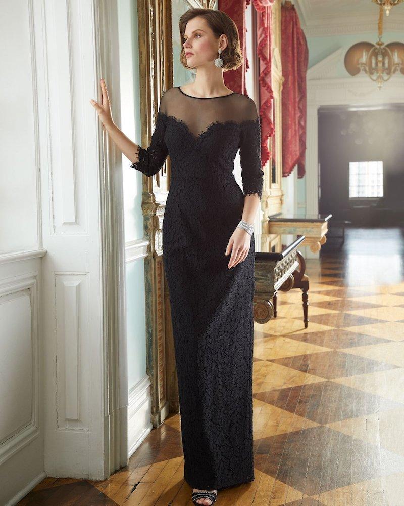 Rickie Freeman for Teri Jon Lace Illusion Column Gown