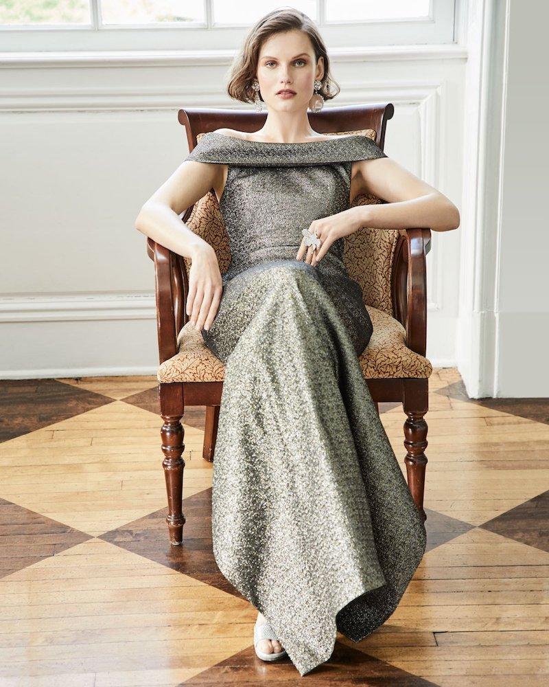 Rickie Freeman for Teri Jon Stretch Jacquard Metallic Off-the-Shoulder Column Gown