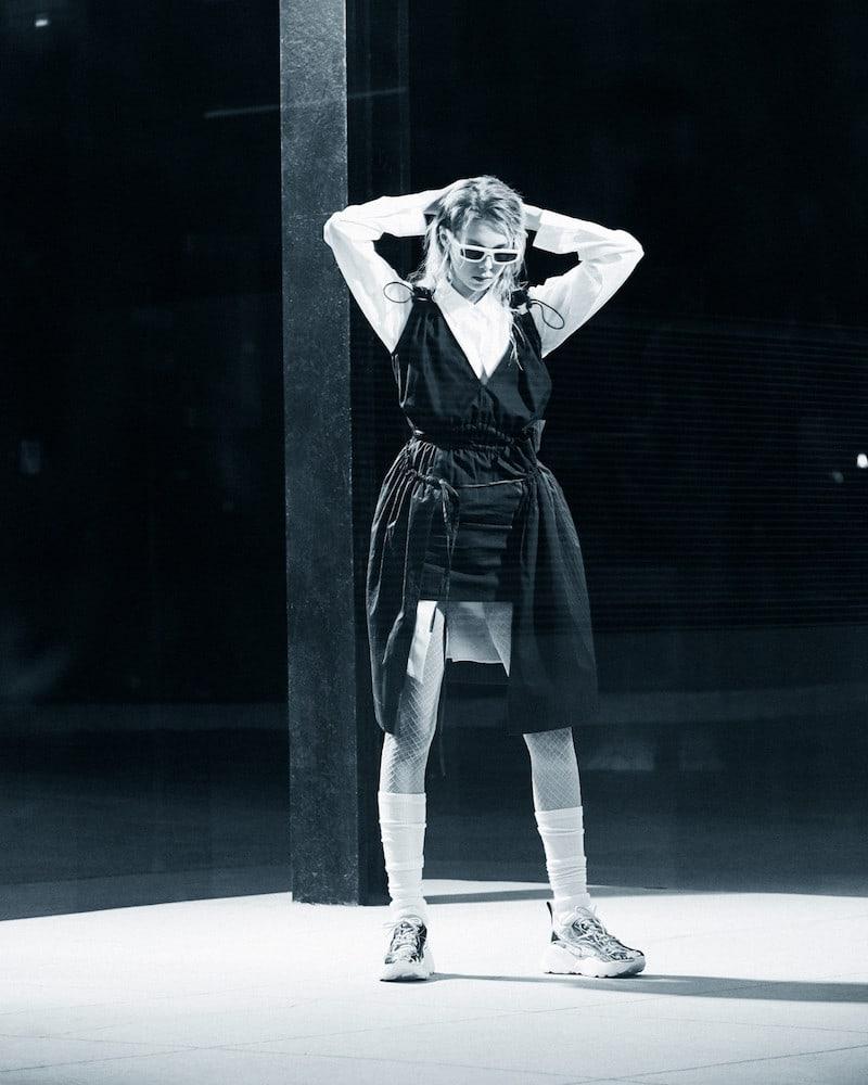 Stella McCartney Navy Gathered Shirting Skirt