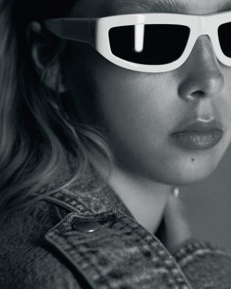 Stella McCartney White Slim Rectangular Sunglasses