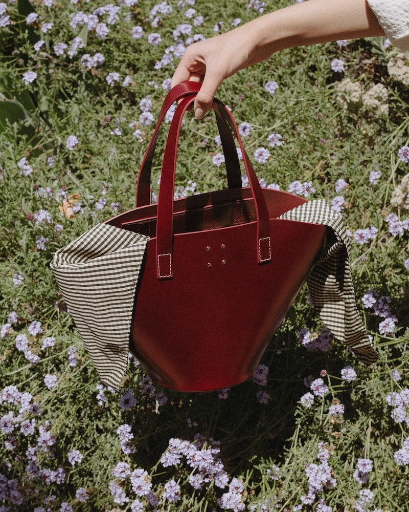 Trademark Large Leather Basket Bag With Gingham Insert