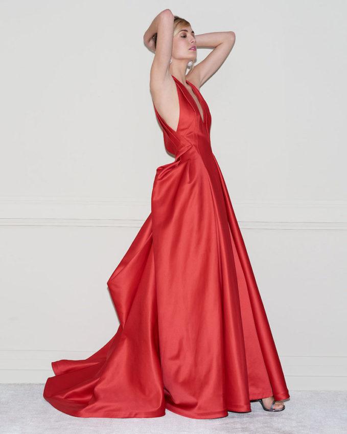 Zac Posen Deep V-Neck Full-Skirt Gown