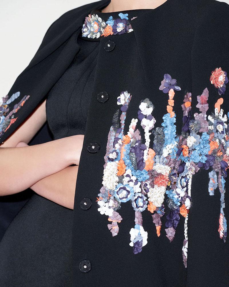 Zac Posen Pleated-Neck Garden-Sequined Embroidered Coat